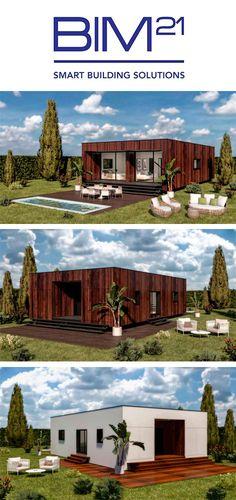 Casa prefabricada. Construcción industrializada modular. #BIM21 Mansions, House Styles, Building, Home Decor, Minimal Home, Prefabricated Home, Tiny Houses, Architecture, Blue Prints