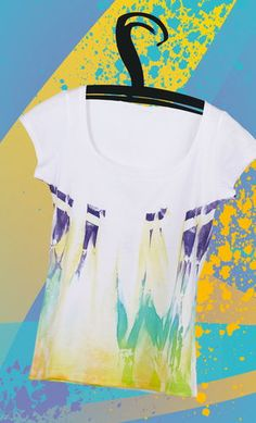 Fashionably sprayed T-shirt with a batik look Diy Fashion, Outfit, Shirt Designs, Tie Dye, Mens Tops, Kids, Style, Fabrics, Paper