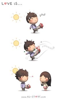 Check out the comic HJ-Story :: Love is. Hj Story, Cute Love Cartoons, Cute Cartoon, Cute Love Stories, Love Story, Look Good For You, Cute Comics, Cute Chibi, It Goes On