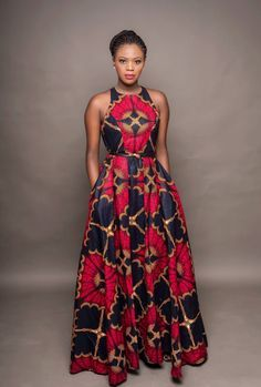 """""""Oye"""" which means throne is geared to bring out the queen in you! You're sure to feel royal in this beautiful hand-made African -print inspired dress. It's like wearing a work of art for sure. Round neck inches long Fully lined Back zipper 2 side po African Maxi Dresses, Latest African Fashion Dresses, African Print Fashion, Africa Fashion, African Attire, African Wear, Long Dresses, African Style, Ankara Dress Styles"""