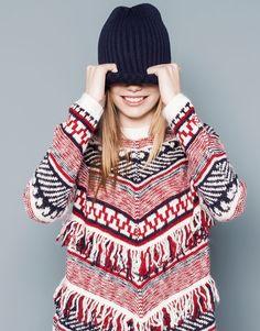 Pull&Bear - woman - knitwear - jacquard jumper - red - 09556352-I2014