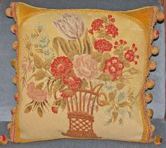 Antique French Pillow  19th Century Aubusson by FromAFrenchAttic, £165.00