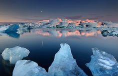 Dormant Volcano Öræfajökull reflected in Jökulsárlón, Iceland, via Flickr.