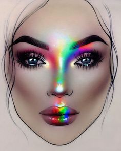 Ideas For Makeup Face Drawing Make UpYou can find Face charts and more on our Ideas For Makeup Face Drawing Make Up Rainbow Face, Rainbow Makeup, Photographic Makeup, Mac Face Charts, Mac Makeup Looks, Make Up Designs, Makeup Face Charts, Lime Crime Makeup, Makeup Drawing