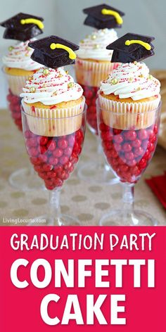 Funfetti Graduation Cupcakes in DIY candy filled cake stands will get an A+ grade with your graduate and their friends! These fun Graduation Cupcakes are topped with homemade frosting, school color sprinkles and a black mortarboard lollipop. Easy dessert idea for a graduation party. #graduation #funfetti #LivingLocurto #grad #cupcakes #desserts #cake #candy #party #recipe #partyrecipe #easyrecipe #confetti