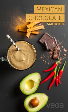 Mexican Chocolate Smoothie: This Mexican chocolate smoothie recipe has a certain spicy something that we know you'll love. Spiced, naturally sweet, and seriously chocolatey, this is one chocolate smoothie recipe you won't soon forget. #VegaSmoothie