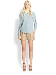 Chloé Metallic Tweed Shorts in Animal (GOLD) | Lyst