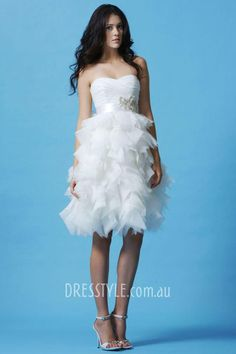 Lovely Organza Satin & Tulle & Satin A-line Strapless Sweetheart Neckline Natural Waist Ruffled Beaded Short Knee Length Wedding Gown - Beach Wedding Dresses - Wedding Dresses - Wedding & Events Wedding Dresses Nz, Bodice Wedding Dress, Wedding Dress Shopping, Bridal Dresses, Bridesmaid Dresses, Gown Wedding, Wedding Bells, Gown Dress, Reception Dresses