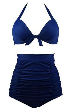 a51b1183d1 Chic High-Waisted Solid Color Pleated Women's Bikini Set Bikini, Maillots  De Bain