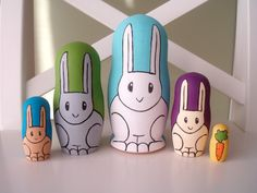 Rabbit Nesting Dolls  Set of 5 by HeyAbby on Etsy, $72.00