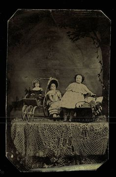 Unusual Tintype Photo Rare Display of China  Dolls 1870s