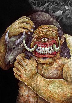 """Bungisngis is a giant cyclops in Philippine folklore. This giant, purported to dwell in Meluz, Orion, Bataan, is described as is always The literal meaning of the name Bungingis is derived from the Tagalog word ngisi which means """"to giggle"""". Magical Creatures, Fantasy Creatures, Philippine Mythology, Myths & Monsters, Philippines Culture, Legends And Myths, Urban Legends, Mythological Creatures, Fantastic Beasts"""