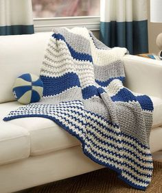 Athleisure Striping Throw DESIGNED BY Cristina Mershon Free Crochet Pattern  Available from Red Heart Yarns