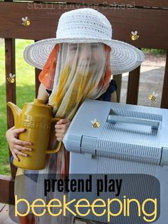 Beekeeping: A Pretend Play Prompt for Kids from Still Playing School Make a pretend bee keeper veil with mosquito netting! Dramatic Play Themes, Dramatic Play Area, Dramatic Play Centers, Preschool Themes, Preschool Lessons, Preschool Science, Insect Activities, Activities For Kids, Drama Activities