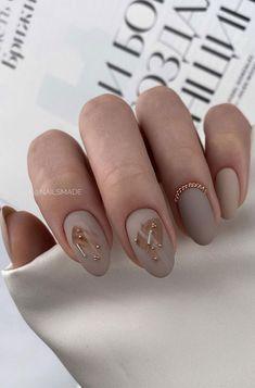 Round Nails, Oval Nails, Pedicure Nail Art, Nail Manicure, Acrylic Nail Designs, Nail Art Designs, Nails Design, Acrylic Nails Nude, Neutral Nail Art