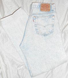Vintage 80s Levis 501 Button Fly Blue Acid Wash Denim Distressed Jeans 36 x 29  #Levis