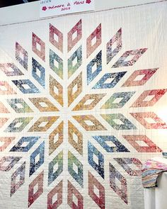 """Memoire a Paris Lone Star Quilt Free Pattern designed, created, & quilted by Lynne Goldsworthy for Lecien, featuring """"Memoire a Paris"""", displayed in Portland at Spring Quilt Market 2018 Lone Star Quilt Pattern, Star Quilt Blocks, Star Quilt Patterns, Strip Quilts, Jellyroll Quilts, Patchwork Quilting, Quilt Stitching, Quilting Projects, Quilting Designs"""