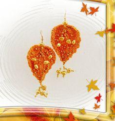 Linen Earrings  Golden Pearl Earrings  Dangle by CraftsbySigita