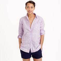 Long cotton-linen boy shirt in crosshatch : casual shirts | J.Crew