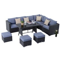 Patio Corner Dining Sofa Set Garden Pool Lounge Furniture Cushions Table Stools