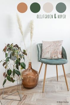 Choose color palette olive green and copper interior color © BintiHomekopie Color Inspiration, Interior Inspiration, Copper Interior, Small Room Bedroom, Living Room Remodel, Colorful Interiors, Decoration, Home And Living, Home Decor