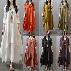 Women Peasant Ethnic Cotton Linen Long Sleeve Maxi Dress Gypsy Blouse Shirt Gown – Linen Dresses For Women Gypsy Dresses, Linen Dresses, Boho Dress, Long Sleeve Maxi, Maxi Dress With Sleeves, Sleeve Dresses, Casual Mini Dress, Mini Robes, Mode Hijab