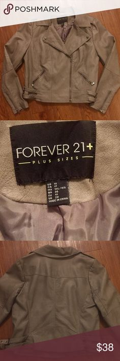 1X Taupe Faux Leather Jacket Forever 21+ Faux leather Jacket. Moto style with fold over neckline and patched elbows. Zippered pockets and zippers on sleeves. Buckles on side allow for adjustment around waist. GREAT CONDITION! No damages. Staple item for your closet! 💖15% off 2+item bundles🛍Small surprise with each purchase 🌟 Forever 21 Jackets & Coats
