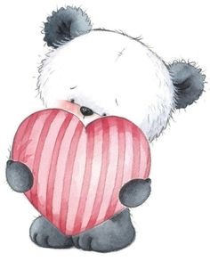 Cute animals for decoupage - user Forget-me-Not (Maria) in the community Pictures for creativity in the category Baby Panda Love, Love Bear, Cute Panda, Panda Bear, Teddy Bear With Heart, Illustration Mignonne, Cute Illustration, Cute Images, Cute Pictures