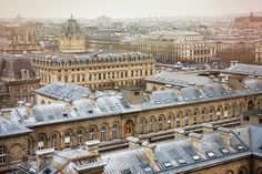 Paris roofs from Cathedral Notre-Dame de Pa - My flickr  My instagram  My facebook Spectacular image of Paris roofs from Cathedral Notre-Dame de Paris. Hopital Hotel-Dieu above and Registry of the Paris Commercial Court below. France. Paris