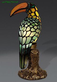 Tiffany Tukan Vogel  Tischlampe Tiffanylampe