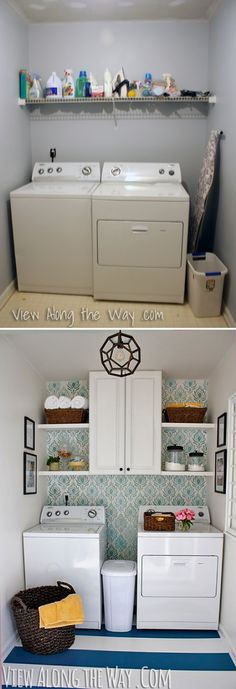 Laundry room before-and-after: This whole room was DIY-ed top to bottom for only about $150! Come see how!