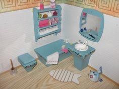 Badmöbel Dora Kuhn aus Holz Puppenhaus-Puppenstube-Puppenmöbel |