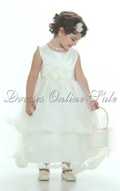 952bd257b3582 Flower Girl Ivory Sleeveless Double Layer Satin And Tulle Ivory Petal Dress  - Ivory - Flower Girl Dress For Less