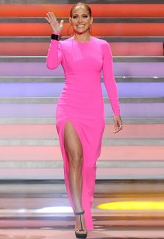 Jennifer Lopez - neon color and fit look amazing