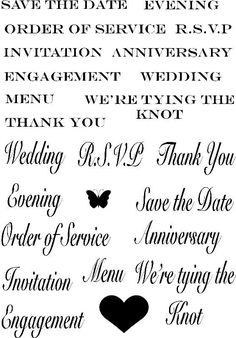 Wedding Sentiments Clear Stamp Set Designed by Marion Emberson. Easy to align for precision stamping. Sticky back for direct mounting onto acrylic blocks. Can be used stored and reapplied many times. size A6. To aid your keyword search this product has been categorised as Wedding. Includes Save the Date, Order of Service, Invitation, Engagement and many other sentiments.