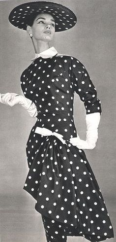 1956 Paquin .Polka Dot dress