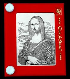 Mona Lisa on Etch-a-Sketch -- no other attribution given. (Click through for 9 other amazing Etch-a-Sketch creations.)