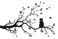 Chat, Arbre, Branche, Silhouette, Oiseau Illustration vectorielle libre de droits