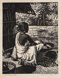 Bengali woman by Haren Das Human Figure Sketches, Figure Sketching, Figure Drawing, Dark Art Drawings, Art Drawings Sketches, Bengali Art, African Art Paintings, Posca Art, Graffiti Painting