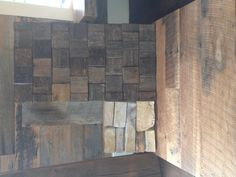 Wall tiles, flooring, and accent wood. All reclaimed