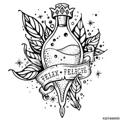 Line art beautiful tattoo. Good luck potion - Buy this stock vector and explore similar vectors at Adobe Stock - Harry Potter magic flask. Line art beautiful tattoo. Good luck potion – Buy this s - Harry Potter Magie, Arte Do Harry Potter, Harry Potter Sketch, Harry Potter Drawings, Harry Potter Tattoos, Hp Tattoo, Back Tattoo, Magic Tattoo, Tattoo Small