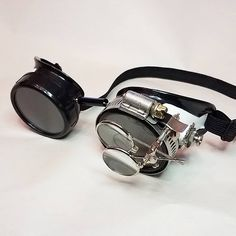 Steampunk Goggles Burning Man  Black Costume Circus Victorian Cafe Racer