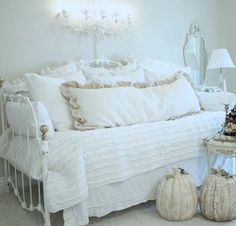 SHABBY COTTAGE CHIC DREAMY WHITE RAG RUFFLES TWIN QUILT... For AJ's room!