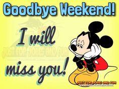 Goodbye Weekend! ...