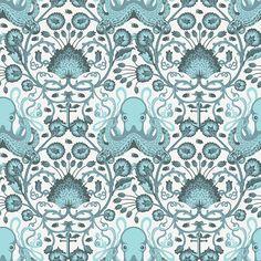 Tula Pink  SALT WATER  Octo Garden in Aqua - Free Spirit Fabric - One Yard