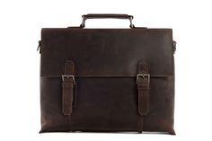 Image of 15'' Genuine Leather Briefcase Messenger Bag Laptop Bag Macbook Bag Shoulder Bag Men's Bag 7035A