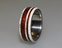 Titanium Ring With Cocobolo Wood and Deer Antler Inlay, Wood Ring, Antler Ring, Titanium Wedding Band, Mens Band