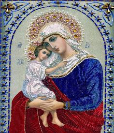 Diamond Painting Drill Wall Arts Diy Diamond with Rhinestones Kit Crafts Decor- Virgin Mary and Jesus, X Inch Blessed Mother Mary, Blessed Virgin Mary, Religious Icons, Religious Art, Religious Paintings, Hail Holy Queen, Seed Bead Art, La Madone, Queen Of Heaven
