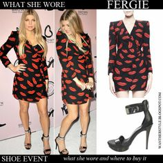 Fergie in black red lips print mini wrap dress Saint Laurent with black ankle strap platform sandals Want Her Style #fergie #style #fashion #dress #party #outfit #summer