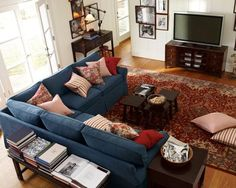 Couch idea for new living room. Image detail for -Pottery Barn PB Basic 3pc Sectional Sofa Slipcover Harbor Blue Canvas ...